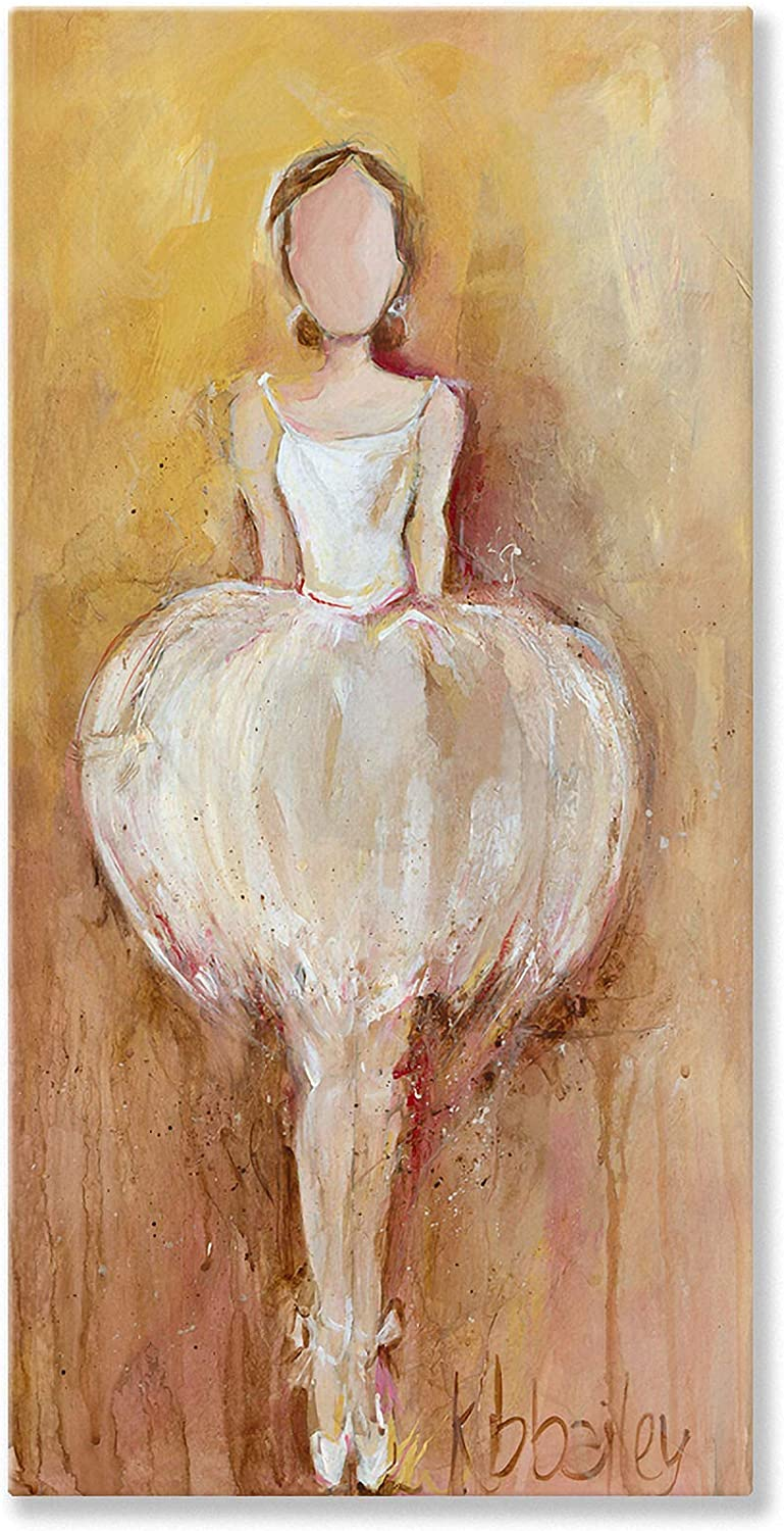 Oopsy Daisy Perfect Balance Ivory Stretched Canvas Wall Art by Kristina Bass Bailey, 18 by 36Inch