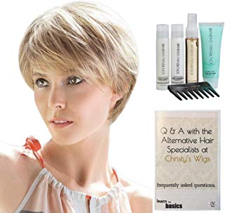 Bundle - 7 Items: Silk Hi Remy Human Hair by Ellen Wille, Christy's Wigs Q & A Booklet Luxury Shampoo & Conditioner Blow Away Balm Treatment Mist & Wide Tooth Comb - Color: Espresso Mix