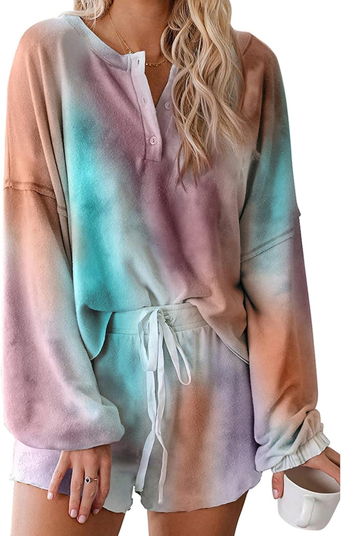 Zando Womens Long Sleeve Lounge Sets Two Piece Pajama Sets for Women Sleepwear Cotton PJS Shorts Sets Lounge Wear