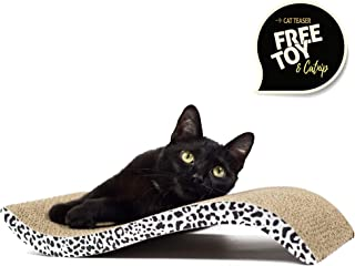 nukka Cat Scratcher Cardboard - 2 in 1 Wave Curved Scratching Lounge Pad with Cardboard Scratch Pad Surface and Catnip Teaser Training Toy