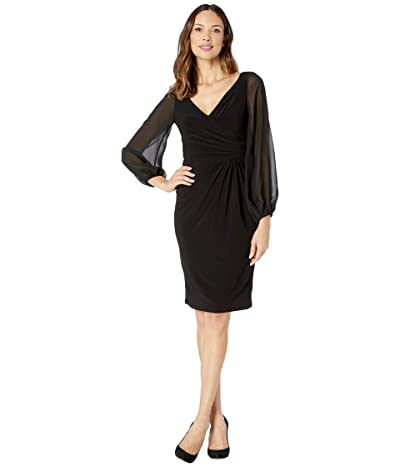 Adrianna Papell Draped Jersey Cocktail Dress (Black) Women