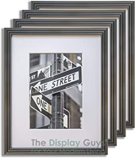 The Display Guys 4-Pack Steel Grey (Gunmetal) 8x10 Picture Frames w. Mat for 5x7 (Art Deco Series), Real Glass 5/8