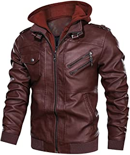 Men's Leather Jackets Hooded Slim Motorcycle Jackets Faux Leather Bomber Jacket Coats with Removable Zipper Hood.