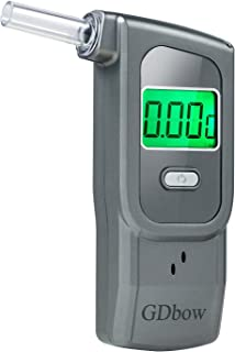GDbow Breathalyzer Portable Alcohol Tester Recording Recent 32 Results with 5 Mouthpieces -Grey