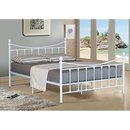 b45b484f7c9a Comfy Living 4FT SMALL DOUBLE METAL BED FRAME BEDSTEAD IN WHITE