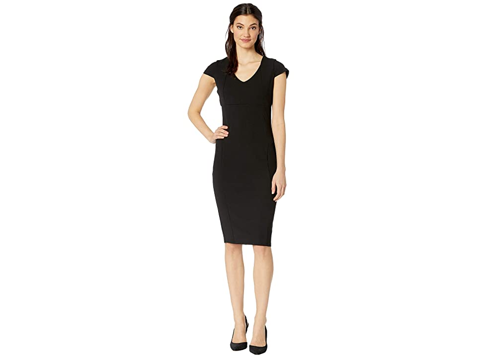 Bebe V-Neck Cap Sleeve Fit Midi Dress (Black) Women