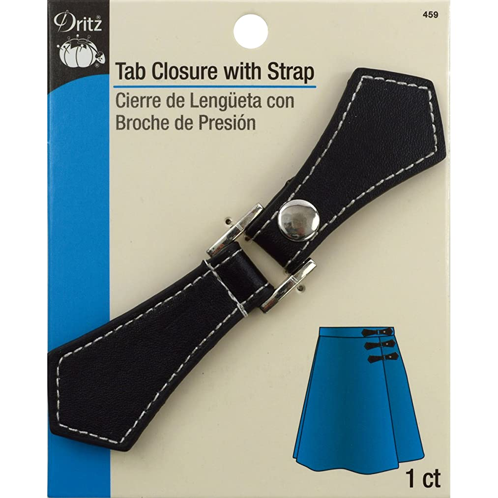Dritz 459 Faux Leather Tab Closure with Snap, Black