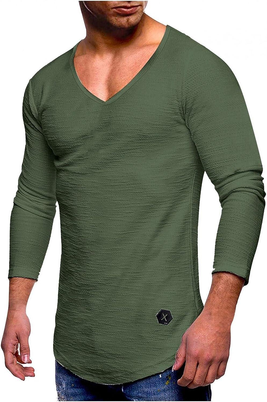 Long Sleeve Tee Shirts for Men Fashion V-neck Leisure Slub T Shirts Muscle Athletic Sweatshirts Gym Pullover Tops