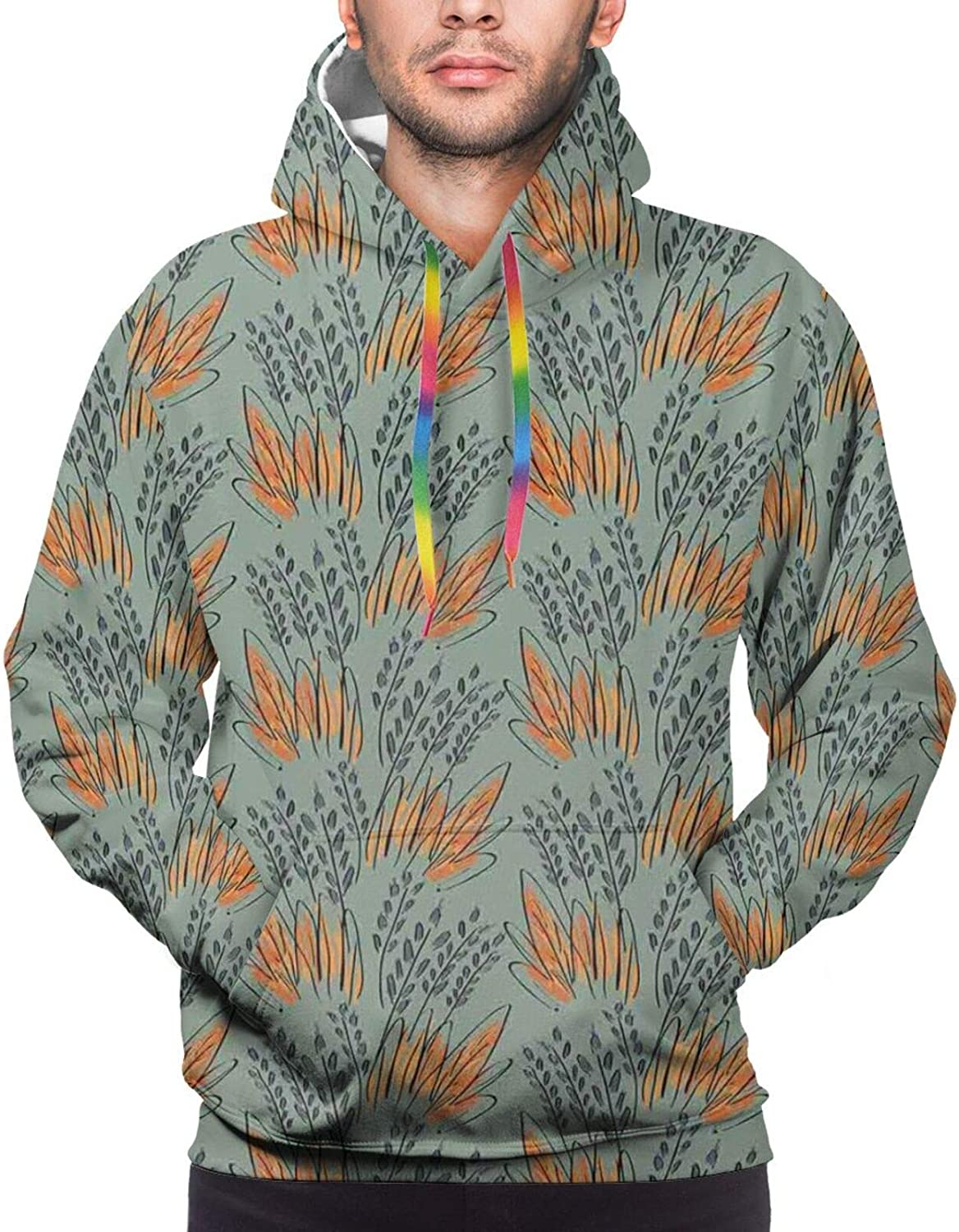 Men's Hoodies Sweatshirts,Sketch Tattoo Style Classic Hand Drawn Bull Figure Animal with Horns Artful Picture