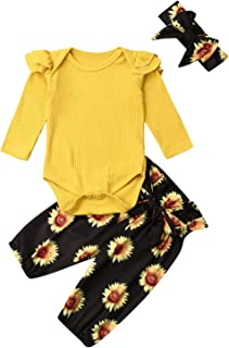 Baby Girls Long Sleeve Red Romper Floral Trouser Headband 3 Pieces Toddler Cotton Outfits Set for 0-24 Months(Yellow,0-3 M...