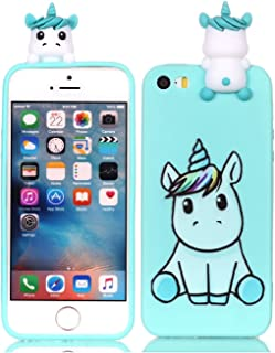 DAMONDY iPhone 5/5s/SE Case,3D Cartoon Animals Cute Pattern Soft Gel Silicone Slim Design Rubber Thin Protective Cover Phone Case for iPhone SE/iPhone 5S/iPhone 5-Cute Unicorn