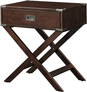 StarSun Depot Espresso Brown Wood 1-Drawer End Table Nightstand with X Legs