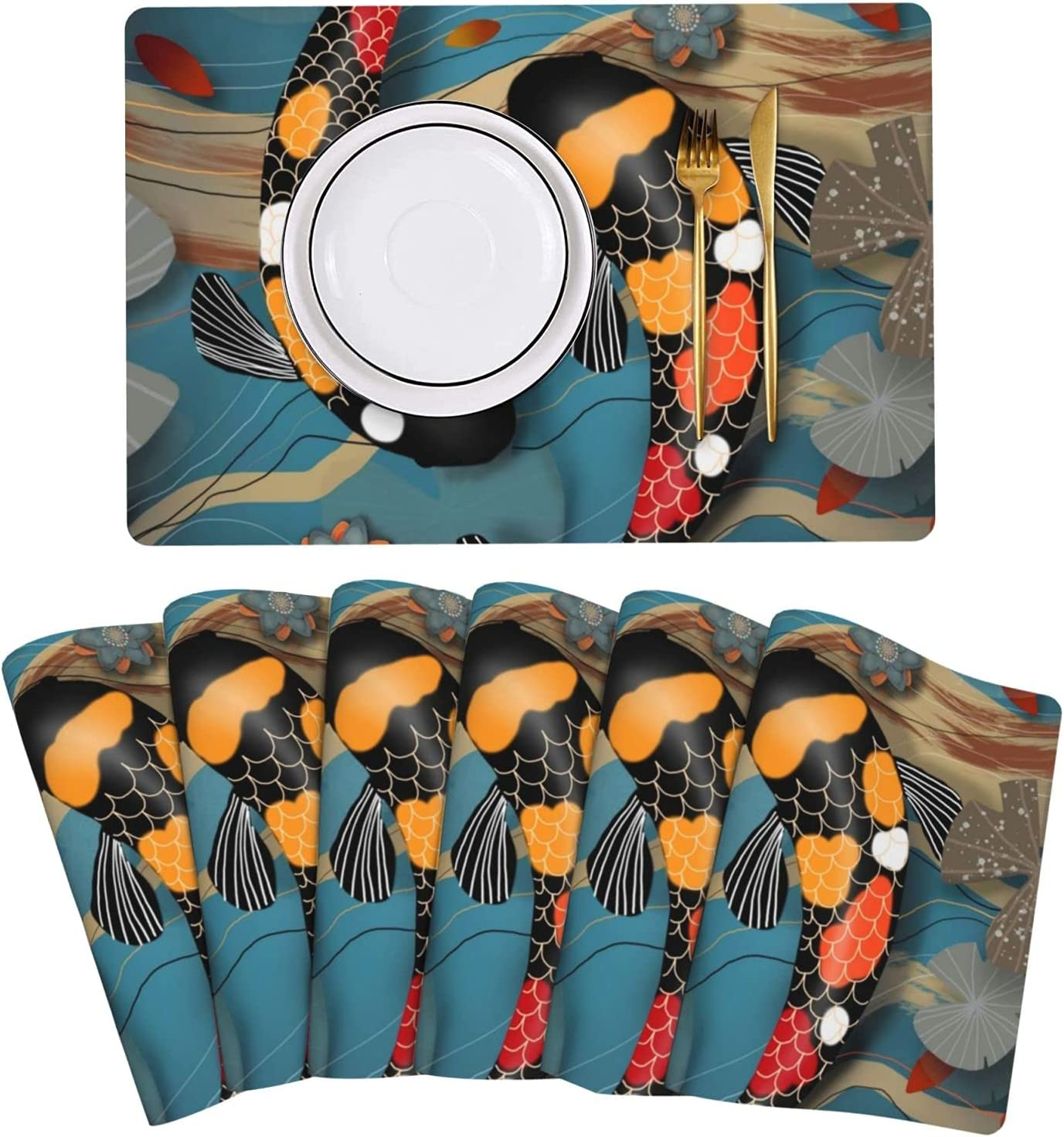 Koi Watergarden Placemat Leather Table 25% OFF Mats Cle Easy of Set 6 to Directly managed store