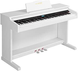 LAGRIMA White Digital Piano with Standard Key, 88 Key Electric Piano for Beginner(Adults/Kids) W/Music Stand+Power Adapter+3-Pedals+Instruction Book+Headphone Jack