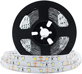 LightingWill LED Strip Lights CRI90 SMD3528 16.4Ft(5M) 300LEDs Nature White 4000K-4500K 60LEDs/M DC12V 24W 4.8W/M 8mm Whit...