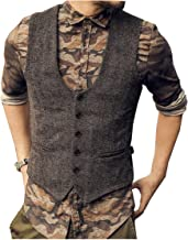 JYDress Men's Top Designed Casual Slim Fit Skinny Dress Vest Tweed Waistcoat