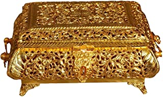 Nutristar Gold Coated Copper Paandan Moradabad Handcrafted Work Pan Masala Box. Length = 10 Inch Height = 5 Inch
