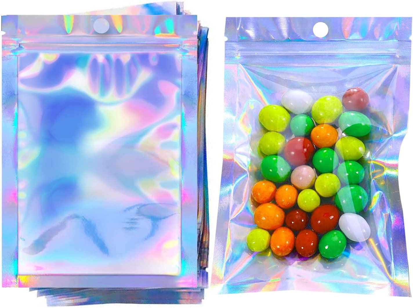 COQOFA 100Pcs 4x6 Inch Smell Proof mylar Bags Resealable Holographic Bags Flat Clear Foil zip lock Pouch Bags for Food Storage Lip Gloss Eyelash Jewelry Electronics Storage…