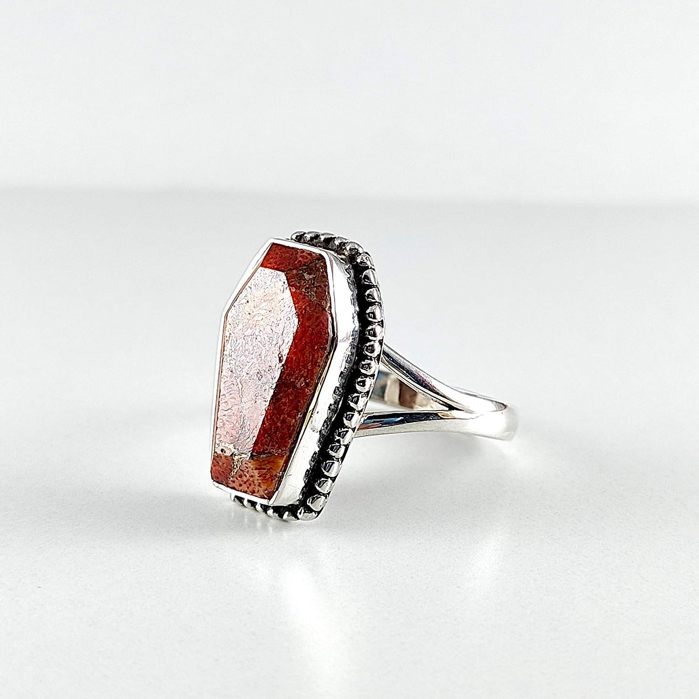 Kansas City Mall coffin ring red jasper 925 r sterling silver gemstone rings Ranking TOP18