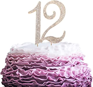 LINGPAR 12 Years Birthday Cake Topper - New Best Crystal Rhinestone 12th Wedding Anniversary Or 12 Years Old Cake Topper Party Decoration Gold
