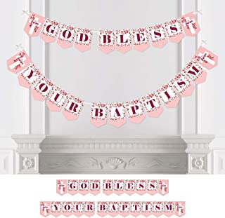 Big Dot of Happiness Baptism Pink Elegant Cross - Girl Religious Party Bunting Banner - Party Decorations - God Bless Your Baptism