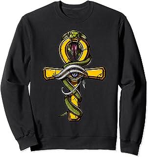 エジプトのアンク十字架のシンボルホルスの目難解な精神的な蛇蛇の神古代エジプトの神話 トレーナー