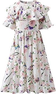 Girl's Ruffle Sleeve Elegant Floral Casual Midi Dress for Kids 5-14 Years