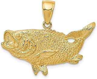 Black Bow Jewelry 14k Yellow Gold Largemouth Bass Pendant
