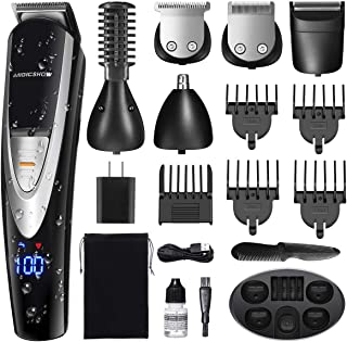 MIGICSHOW Beard Trimmer for Men, Waterproof Hair Clipper Mustach Trimmer Body Groomer Trimmer Hair Trimmer 12 in 1 Grooming Kit for Nose Ear Facial, LED Display USB Rechargeable with Storage Dock
