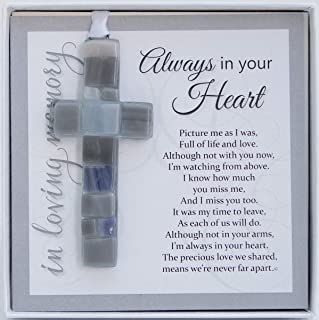 Always in Your Heart Sympathy Sentiment - Memorial/Remembrance/ Bereavement Gift (Gray Cross)