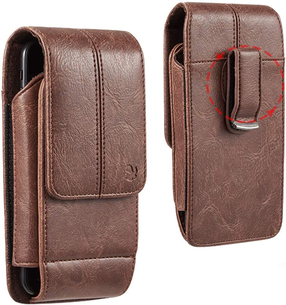 6.5-inch Vertical Brown PU Leather Universal Cell Phone Wallet Holster Pouch with Belt Clip and Card Slots
