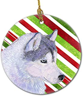 Caroline's Treasures SS4533-CO1 Siberian Husky Candy Cane Holiday Christmas Ceramic Ornament, Multicolor