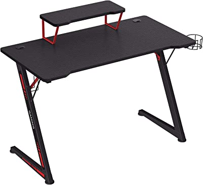 SONGMICS Table de jeu, Bureau, avec support pour moniteur, porte-gobelet, support pour écouteurs, multifonction, cadre en acier en Z, montage facile, Noir et Rouge LGD001B01