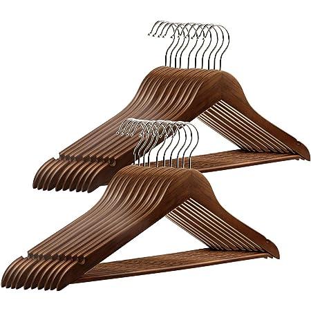 Luniquz Lot de 20 Cintres en Bois Massif avec Rainures Cintres Vintage à Barre Rotation à 360° pour Robe Chemise Soutien-Gorge Pantalon Manteau