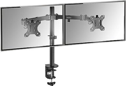 "VonHaus Dual Monitor Mount for 13-32"" Screens | Double Arm Desk Stand Bracket with Clamp | Ergonomic 180° Tilt, 360° Rotation & Twin 360° Swivel Arms | VESA Dimensions: 75x75-100x100"