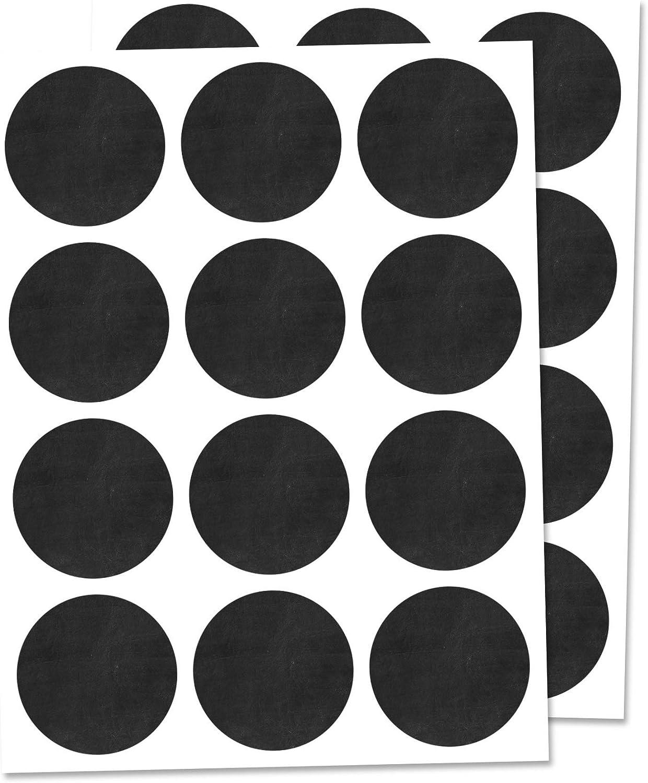 300 Piezas - Etiquetas para Frascos Pegatinas Negras, Borrable - 25mm
