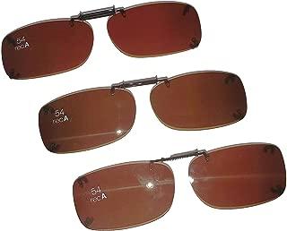 3 SOLAR SHIELD Clip-on Polarized Sunglasses Size 54 Rec A Brown Frameless NEW