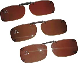 3 SOLAR SHIELD Clip-on Polarized Sunglasses Size 54 Rec A Brown Frameless NEW