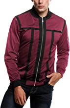 COOFANDY Men's Zip Up Contrast Color Stripe Slim Fit Bomber Jacket Coat