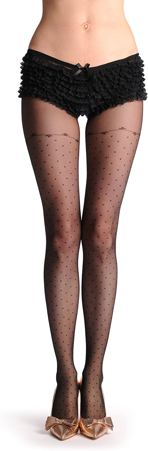 Small Black Dots Over The Knee With Thin Floral Top 20 Den - Tights