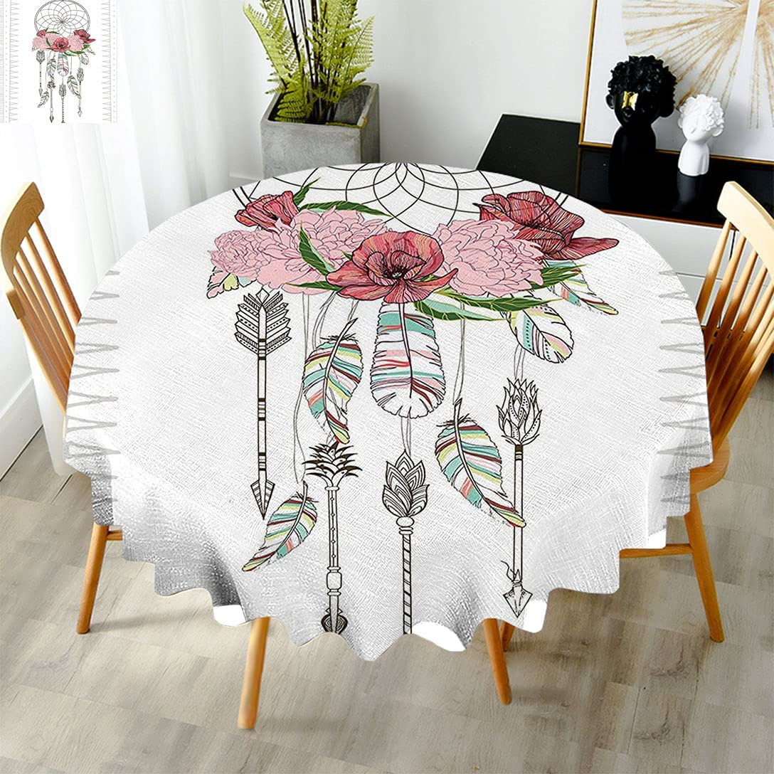 Bohemian Circle Tablecloth Hand Drawn Dreamcat a of Limited Special store Price Illustration