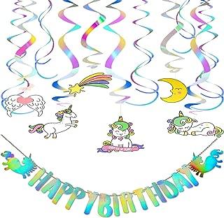 Unicorn Party Decorations Happy Birthday Banner Unicorn Birthday Party Supplies with Unicorn Hanging Swirl Decorations New for 2019