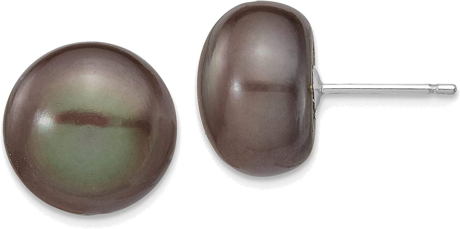 14kt White Gold 11-12mm Black Button Freshwater Cultured Pearl Stud Post Earrings