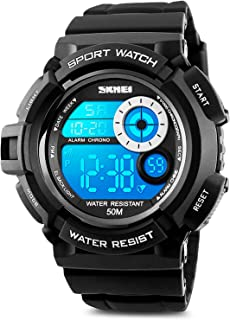 Mens Digital Sports Watch, Military Army Electronic Watches Running 50M 5 ATM Waterproof Sports LED 7 Colour Wristwatch Water Resistant with Stopwatch