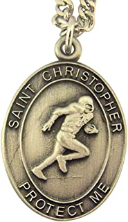 Religious Jewelry Mens Boys Pewter Saint Christopher Football Sports Athlete Medal Pendant, 1 Inch
