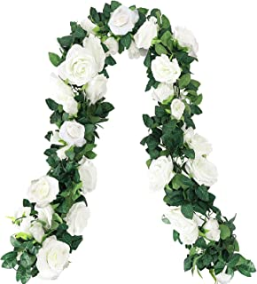 CEWOR 4pcs 26.2ft Artificial Rose Garlands Fake Silk Flowers Hanging Vines for Wedding Party Home Wall Garden Hotel Outdoo...