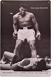 [ファン] Fun! ブリキ看板 モハメド・アリ vs リストンヨコ ポスター ボクシング グッズ 白黒