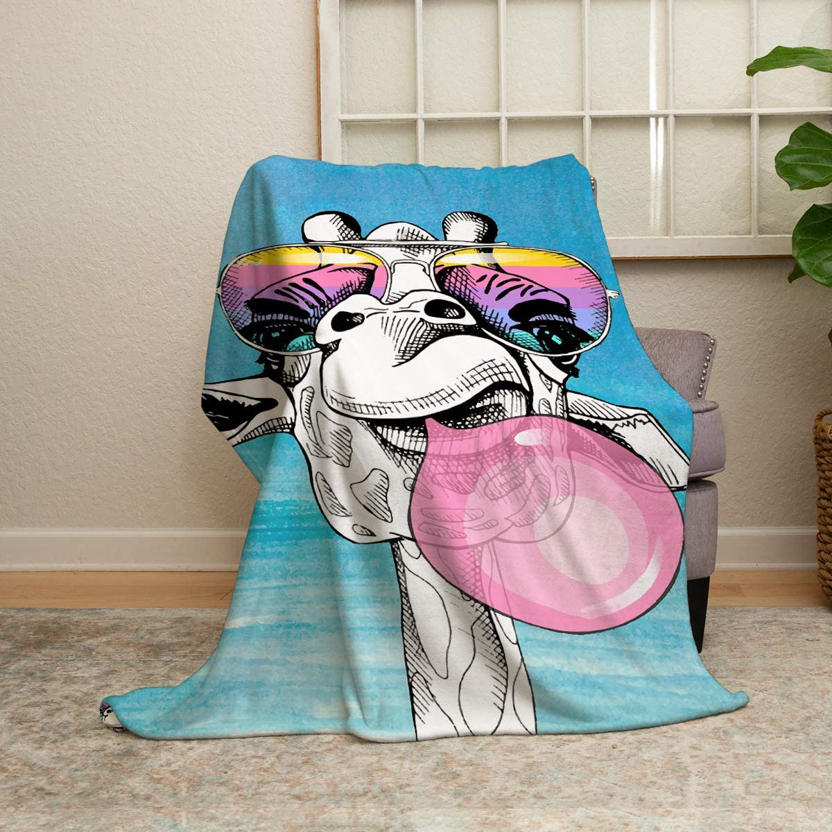 Giraffe Throw Blanket 40'' Be super welcome x Fun Fluffy 60'' Cartoon Watercolor Max 71% OFF