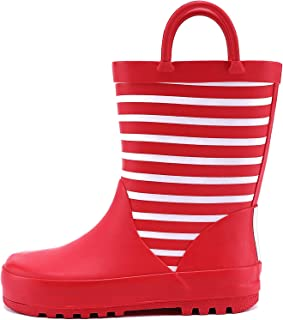 WDSAFSLO Kids Rain Boots, Rubber Waterproof Rain Boots for Toddler Kids Boys Girls in Fun Patterns