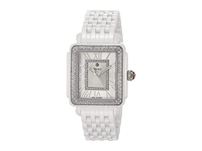 Michele Deco Madison Mid Diamond White Ceramic (White) Watches